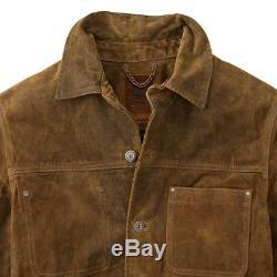 Timberland Riveté Piercings Soudeur En Cuir Distressed Vintage Trucker / Ranch Jacket