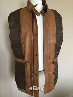 Tn-o Ralph Lauren Violet Étiquette Cuir Thornhill Jacket L Slim 4995 $ Italie