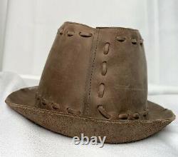 True Religion Chapeau En Cuir Fedora 100% Pitching Brown Large XL Chapeau Décontractionné