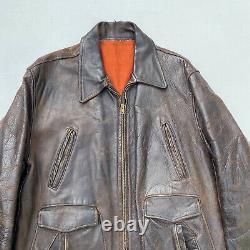 Veste De Moto En Cuir Vintage Horsehide Grande Accessoire En Détresse Des Années 1940