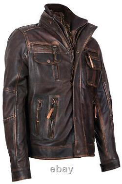 Veste De Moto Rétro En Cuir Retro Pour Homme Vintage Brown Warm