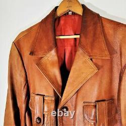 Veste En Cuir Brun Ceinturé Vintage 30s 40s Détresse Western Rancher Coat 44