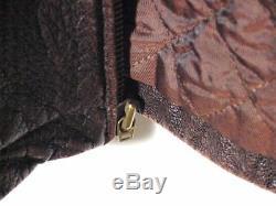 Veste En Cuir Vtg Distressed Brown Cuir Oakwood Moto Matelassée Boucle Sz L