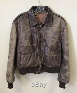 Vêtement Vintage Steerhide Veste En Cuir Véritable Talon Distressed Zipper