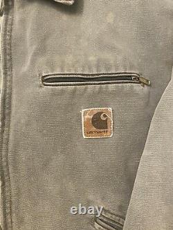 Vieille Couverture De Carhartt Toile Doublé Detroit Veste Collier De Cordon Taille Grand