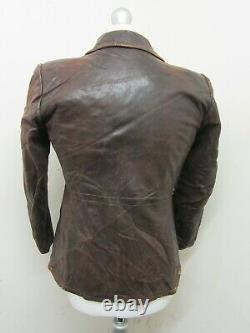 Vintage 1930's Ww2 Allemand Distressed Leather Cyclist Jacket Taille Xs Ritsch Zips