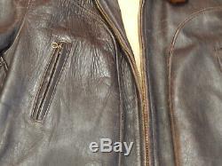 Vintage 40 De Style Aviateur Flight Jacket Distressed Brown En Cuir Cuir De Cheval