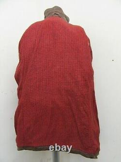 Vintage 40's Allemand Distressed Half Belt Leather Pea Coat Jacket Size M Patina