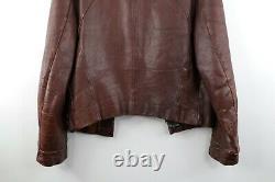 Vintage 50s Mens Medium Distressed Horsehide Leather Jacket Brown Serval États-unis