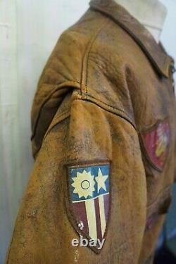 Vintage 70's Avirex U.s. N Distressed Leather Bomber Leather Jacket Uk XL