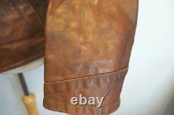 Vintage 80's Italien Stewart Garret Détresse Cuir Highwayman Jacket Taille XL