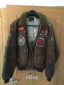 Vintage Avirex G-1 Brun Cuir Vieilli Us Navy Flight Jacket M Bomber