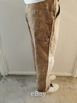 Vintage Carhartt Double Genou Distressed Travail Pantalons Pantalons Brown Tan W30 L29