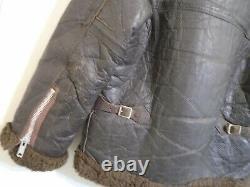 Vintage Distressed Cuir Lourd Mkv1 Veste En Peau De Mouton Volant Taille S