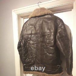 Vintage Distressed Genuine 100% Leather Sheepskin Flying Jacket Taille (m)