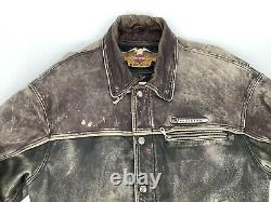 Vintage Harley Davidson Milwaukee Brown Distressed Leather Jacket Homme Grand