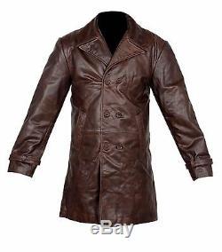 Vintage Hommes Brown Distressed Vache Cacher Cuir Véritable À Long Trench Jacket