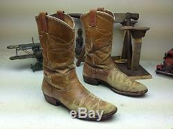 Vintage Made In USA Distressed Nocona Western Cowboy Rockabilly Bottes Taille 10.5b
