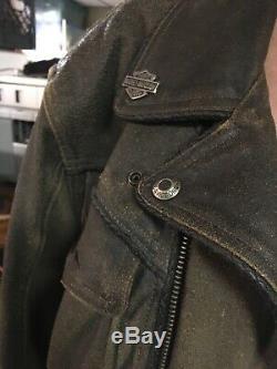 Vintage Med Harley Davidson Billings Affligée Veste En Cuir Avec Pins Logo Hd