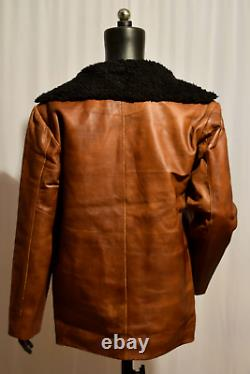 Vintage Mens Brown Distressed Cow Hide Real Leather Fur Collar Coat Jacket
