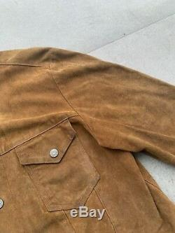 Vintage Polo Ralph Lauren Hommes L Trucker Veste En Cuir Distressed Huile Suede