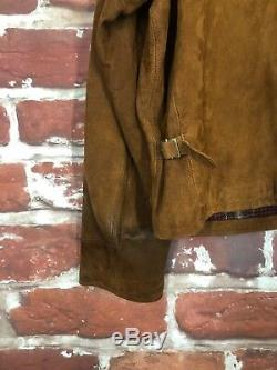 Vintage Polo Ralph Lauren L Cuir Vieilli Rrl Café Veste Motard Moto