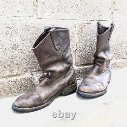 Vintage Red Wing Engineer Motorcycle Work Western Leather Boots Distressed 7