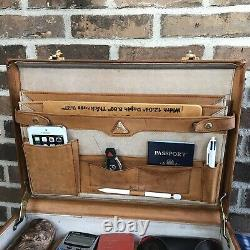 Vintage Renwick Années 1970 British Tan Distressed Leather Macbook Porte-documents R$998