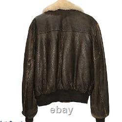 Vintage Schott Leather Jacket 42 Bomber Brown Lambskin Sheepskin Distressed États-unis