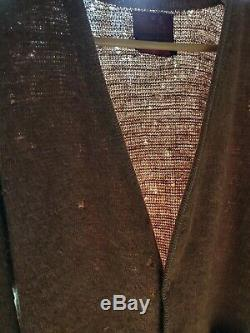 Vintage Sears Mohair Cardigan Cobain Pull Fuzzy Brown Homme XL Distressed