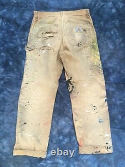 Vintage Trashed Carhartt Double Knee Duck Pants Jeans Distressed 31x32 Battu