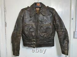 Vintage Ww2 Allemand Haelson Luftwaffe Distressed Leather Jacket Size Eu48 / S