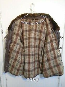 Vintage Ww2 Cheval Décontraction Cuir Barnstormer Veste Taille XL Bearskin Collar
