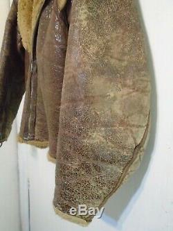 Vintage Ww2 Distressed Irvin Cuir Raf En Peau De Mouton Flying Jacket Taille S