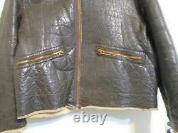 Vintage Ww2 Distressed Usaaf D1 Cuir En Peau De Mouton Flying Jacket Taille 40 Conmar