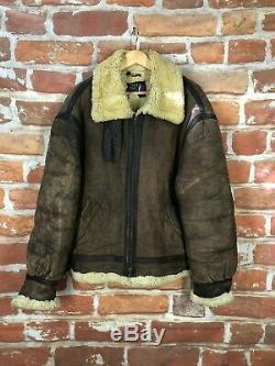 Vintage XXL Schott Nyc Militaire Distressed En Peau De Mouton En Cuir B-3 Bomber Jacket