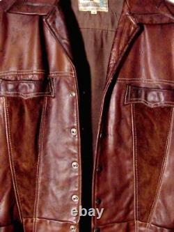 Vtg 60s 70s Détresse Pioneer Porter Hipster Brun Cuir Et Veste Suede Sz 38 /s