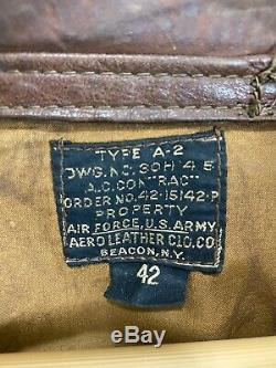 Vtg A-2 Aero Flight Cuir 42-15142-p Cuir De Cheval Distressed Talon Seconde Guerre Mondiale Veste 42