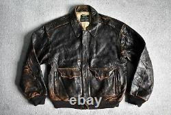 Vtg Avirex Usaaf Distressed Brown Leather A-2 Flight Bomber Jacket Coat L/xl