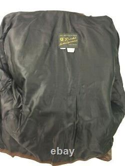 Vtg Brooks Brown Distressed Leather Mens Cafe Racer Moto Jacket Sz 46 Années 1970