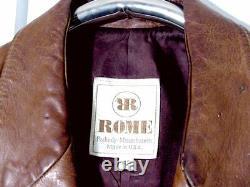Vtg Détresse 60s 70s USA Made Brown Rome Cafe Moto Veste Sz 42 /m