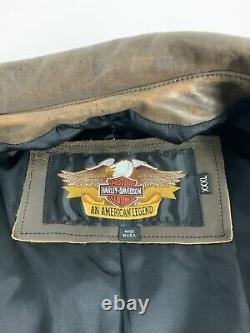 Vtg Harley Davidson V Veste Jumelle En Cuir Pour Homme 3xl Brown Destressed Made USA