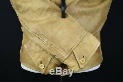 Vtg Hommes Polo Ralph Lauren Veste Moto En Cuir Camel Moto Distressed M Rrl