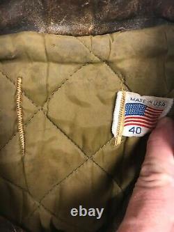 Vtg Schott Brown Distressed Blouson En Cuir Pour Hommes Taille 40