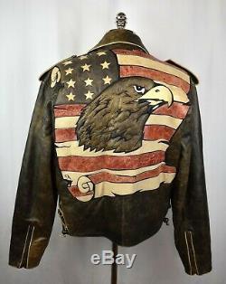 Vtg Volcan Hommes Distressed Cuir Moto Moto Riding Veste XL Etats-unis D'eagle