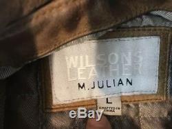 Wilson En Cuir M. Julian Hommes Motard Veste Sz Grand Distressed Matelassée