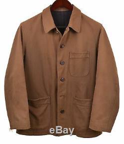 Yohji Yamamoto Fabriqué Au Japon Brown Distressed Toile Sergé De Coton Manteau De Veste M