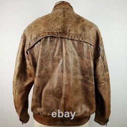 Yves Saint Laurent Ysl Bomber Leather Jacket Coat Distressed Biker Mens L Vtg